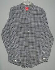Men's Mossimo LS Button Dress/Casual Shirt-L/Large-100% Cotton-Navy Plaid