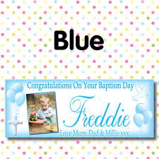 PERSONALISED PHOTO CHRISTENING PARTY BANNERS ANY AGE, ANY NAME,ANY EVENT A007
