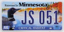 Plaque d'immatriculation américaine MINNESOTA Critical Habitat