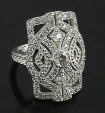 """Xavier 1.23ct Absolute Sterling Silver """"Egyptian"""" Style Shield Ring - Size 6"""