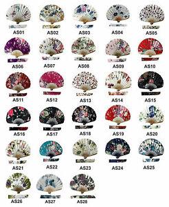 Handheld Folding Fan Ascot Silk Fabric High Quality Hand Fan for Women