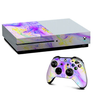 Xbox One S Console Skins Decal Wrap ONLY Pastel Marble resin pink purple swirls