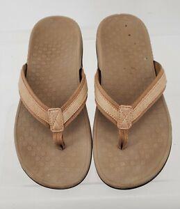 Womens Vionic Tide II Metallic Champagne Thong Sandal Flip Flop size 10 leather