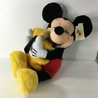 """Walt Disney World Mickey Mouse Hugging Pluto Poseable Plush RARE 20"""" With Tags"""