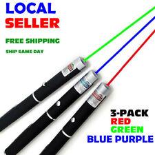 3x 900Miles Laser Pointer 650/532/405nm Green Blue Violet Red Visible Beam Lazer