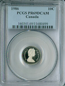 1986 CANADA 10 CENTS PCGS PR69 DCAM 2ND FINEST REGISTRY *