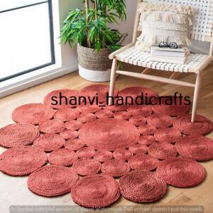 Round Handmade Rug Hand Woven Braided Jute Rug Home Living Area Rug Floor Carpet
