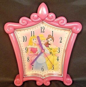 Disney Princess Pink Tiara Wall Clock Sleeping Beauty Cinderella Belle 9""