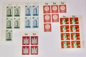 5 verschiedene Bogenteile - Deutsche Bundespost - 1956