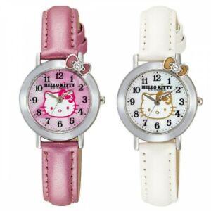 CITIZEN Q&Q Watch Analog Hello Kitty Waterproof Leather Belt Pink or White