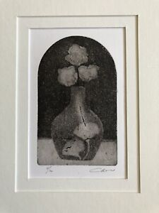 IAN LAURIE b1933 Cornish art Limited Edition ETCHING Vase of Roses 18/100