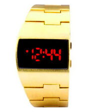 Smart Vintage Styled Red LED Gold Digital Fat Chunky Asymmetric Steel Watch
