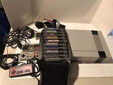 Original Nintendo NES-001 Console Bundle 10 Video Games Controllers Case