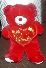 Sweetheart Teddy Bear Red Plush Holds Heart Pillow Says Be My Valentine 18 In