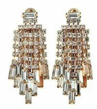 Kenneth Jay Lane KJL Crystal Waterfall Drop  Chandelier Earrings NWT