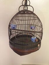 Vintage Asian Chinese Birdcage Bird Cage w/ Porcelain Bowl Feeders Carved Wood