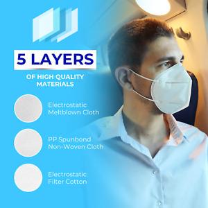 KN95 Mask - Face Mask Disposable Masks 5-Layer White Protective Respirator 10pcs