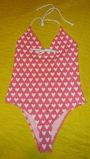 Alex Norrie One piece swimsuit M Posing hearts NWT ruffled cheeky rockabilly