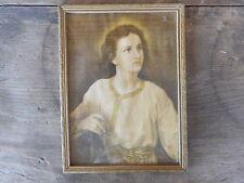 Jesus As A Boy Vintage Picture Religious apx 8 x 11 Wood Frame Flea Market Decor