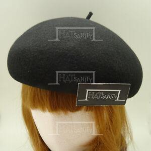 FASHION Wool Felt Women Soft Beret Crown Hat Ladies Party Pillbox | 56cm | Black