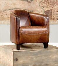 "28"" W Club Arm Chair Cigar brown Vintage top grain leather High quality finish"