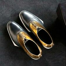 Mens Fashion Gold Silver Color Matching Lace Up Oxford Shoes Leather Dress Shoes