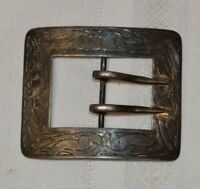 Antique Sterling Silver Belt Buckle with an Etched Design Hallmarked