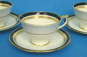 6Pc LOT AYNSLEY EMBASSY LEiGHTON SCALLOPED GOLD & COBALT BLUE 3> CUP & 3> SAUCER