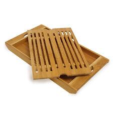 Planche à découper planche à pain en bambou avec bac à miette amovible  Plateau