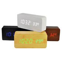 Voice Control LED Display Temperature Digital Wood Wooden Home Alarm Clock