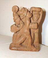 antique Folk Art hand carved wood figural musician band sculpture figure statue
