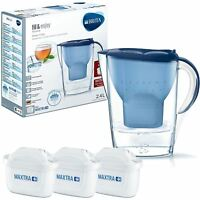 BRITA Marella MAXTRA+ Plus 2.4L Water Filter Jug + 3 Month Cartridges Pack, Blue