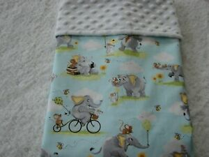 Susybee Elephant Cotton Front White Minky Bassinet/Crib Blanket Handmade