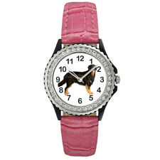 Hovawart Dog Breed Ladies Cubic Zirconia Leather Strap Wrist Watch Sgp387