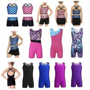 Kid Girls Strappy Tank Leotard Ballet Gymnastics Unitard Sleeveless Costumes