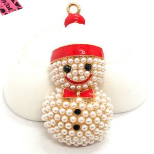 Hot Red Enamel Cute Hat Pearl Snowman Betsey Johnson Charm Brooch Pin Gift
