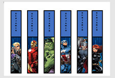 AVENGERS PERSONALISED CHILDRENS BOOKMARKS LAMINATED X 6 PARTY/TEACHERS/PARENTS