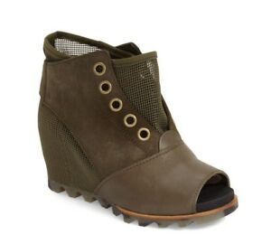 """New Womens Sorel """"Joanie Mesh"""" Leather Wedge Casual Bootie"""