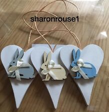 3 X Bunny Spring Hanging Decorations Handmade Real Wood Neutrals