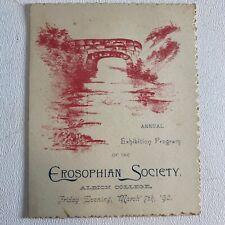 Antique 1890 Exhibition Program of the Erosophian Society Albion College Mich.