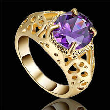 Lady's Dazzling Jewelry Purple Amethyst yellow Rhodium Plated Fashion Ring Size8