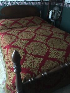 EXQUISITE Vintage Brocade Jacquard BEDSPREAD REVERSIBLE Red & Gold