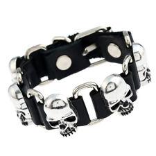 Gothic Punk Skull Bracelet Men's Buckle Silver Skull Bracelet 2 Colors