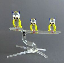 More details for vintage pirelli glass owls on a perch