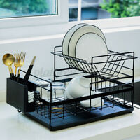 Kitchen Dish Drying Drain Rack Shelf Drainer Stainless Steel Holder w/Water Tray