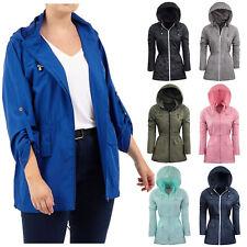 f582777cc Ladies Designer Rain Mac Parka Womens Fishtail Jacket Festival Coat Plain