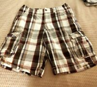 Men's Mossimo Supply Cargo Brown & Burgundy Plaid Cotton Shorts Size 32