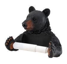 Zeckos Black Bear Helper Hanging Toilet Paper Holder