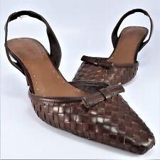 "NEW - Dexter Slingback Pumps Womens Size 7M Brown Woven Bow 2-3/4"" High Heels"