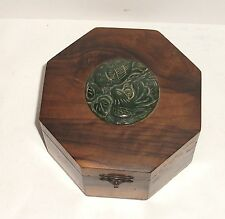 Chinese Wood Cedar Spinach Green Carved Birds Medallion Jade Top Hexagon